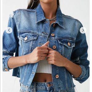 Forever 21 cropped & distressed denim jacket